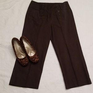 Larry Levine sz 6 wide leg cropped brown pants